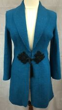 SOFT SURROUNDINGS Teal Blue Boiled Wool Coat Sz M GORGEOUS!!