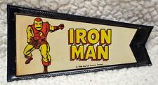 "IRON MAN MARVEL PENNANT w ORIGINAL HOLDER 3"" x 5 1/8"" Marvelmania 1966 RARE"