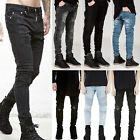 New Men's Tapered Straight Leg Slim Denim Jeans Ripped Distressed Pants Trousers