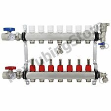 "7-Branch PEX Radiant Floor Heating Manifold Set - Stainless Steel, for 1/2"" PEX"