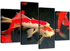 Koi Carp Fish Canvas Wall Art Pictures XL Prints 130cm Red Orange 4094