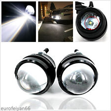 2 Pcs 12-24V White LED Fisheye Style Car SUV Projector Fog Lamps Running Lights