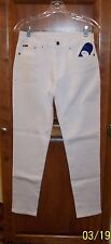 "DIANE GILMAN DG2  SIZE 6 WHITE DENIM SUPERSTRETCH SKINNY JEANS HIPS 37"" HSN"