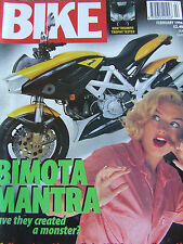 BIKE MAGAZINE FEB 1996 BIMOTA MANTRA SHEENE'S MACHINES HARLEY 1200 CUSTOM KAWASA