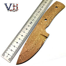 "ROSE GOLD VHCut Hand Forged Damascus Blank Blade ""RAINDROP"" Knife Supply C20-3"