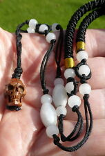 RARE TIBETAN LlAMA (Lama Glama) BONE HUMAN SKULL BEAD  BLESSED on JADE NECKLACE