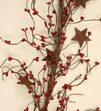"PRIMITIVE RED SEED BERRIES RUSTY METAL STARS GARLAND 72"" L PRIMITIVE FLORAL"