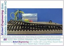 "EE 5202 RH (5204) LN Märklin HO Turnout Refurbished Later Style 39"" Long Wires"