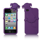 For iPhone 4 4S Rubber SILICONE Skin Gel Case Phone Cover Purple Peeking Dog