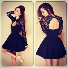 HOT Women Dress Floral Long Sleeve Lace Sexy Backless Evening Party Mini Dress M