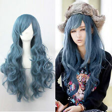 Blue Lolita Long Curly Wavy Fashion Hair Full Wig Anime Wigs Cosplay Party