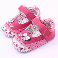 Baby Girls Minnie Bowknot Dots Crib Shoes Sneaker Prewalker Pram Shoes Trainers