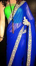 KC Saree Latest Sari collections Designer Blue Border with Blouse Diffrent Look