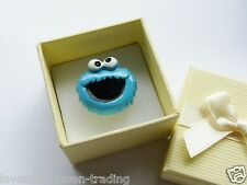 CUTE COOKIE MONSTER ADJUSTABLE SILVER RING WITH GIFT BOX, HANDMADE JEWELLERY