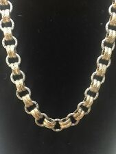 KIAM FAMILY ANTIQUE GOLD SILVER TONE LINK CHAIN NECKLACE OPERA Length