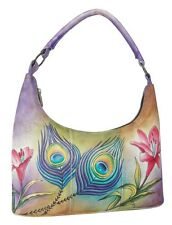 "Anuschka #371-PKF Premium Peacock Flower Small Hobo 12""x6.25""4"" New With Tags"