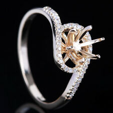 Solid 10K Yellow Gold Round 6.5mm Semi Mount Pave Diamond Engagement Ring