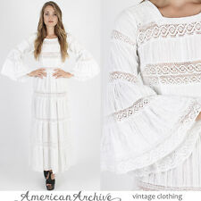 Vintage 70s Mexican Wedding Dress Crochet Floral Lace Boho Hippie Bell Slv Maxi