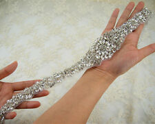 Gorgeous Beaded Motif Diamante Bridal Applique Pearl Rhinestone Wedding Applique