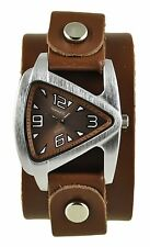 Nemesis Brown Small Triangle Ladies Watch w/ Leather Cuff Band Vintage Girls