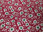 Red & White Ditsy Floral 100% Viscose Poplin Summer Printed Dress Fabric.