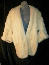 Genuine White Ivory Cream Mink Fur WEDDING Cape Shrug Jacket Bolero   Lovely VGC