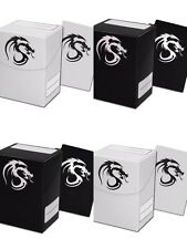 10 BCW 80 Card Deck Boxes Cases with Deck Sleeves - Black or White Dragon MTG