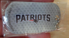 """NFL Football Keychain Dog Luggage Tag with 4"""" Bead Chain New England Patriots"""