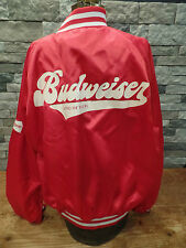 Budweiser Jacket Vintage 80's Bubble Letters Satin Snap Up A & Ealge Size XL USA
