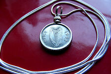 """Authentic 1992 Irish Luck Coin Pendant on a 30"""" Sterling Silver Snake Chain"""