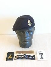 Royal Navy-Issue Petty Officer Beret, Trade Badge, Slide & Chest Patches. 57cm