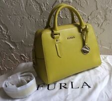 FURLA ELENA MINI SAFFIANO LEATHER SATCHEL BAG LEMON NEW $298
