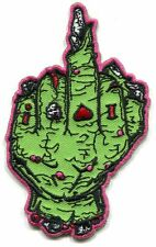 ZOMBIE FINGER green/pink IRON-ON PATCH **Free Shipping** -y ph532 middle bird