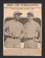 George Sisler & Bucky Harris 1928 Newspaper Clipping