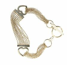 """925 Silver Plated Heart Bead Chain Bracelet Toggle Clasp 7.5"""""""