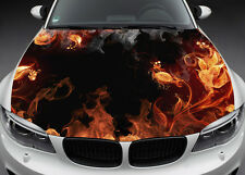 Full Color Graphics Adhesive Vinyl Sticker Fit any Car Hood Flame Flowers #022