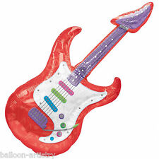 "41"" Classic 50's 1950's Rock & Roll Party Red Guitar Foil Supershape Balloon"
