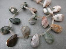Ocean Jasper Beads Faceted Teardrops 32pcs