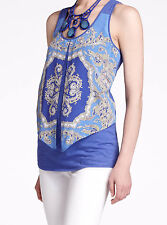 LeifNotes Parted Paisley Tank Top Size Medium Blue Motif NW ANTHROPOLOGIE Tag