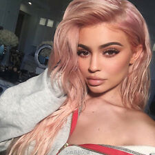 Kardashian Kylie Jenner Lace Front Long Natural Pink Blonde Highlights women wig