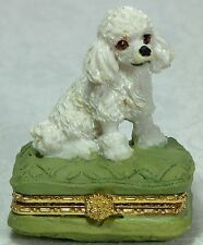 Poodle Trinket Jewel Box Sitting on a Green Cushion 5cm NEW Poly Resin BOX8166