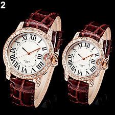 Couple Vogue Roman Dial Rose Gold Bling Crystal Women Men Bracelet Quartz Watch