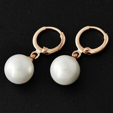Rose Gold Filled Cute Womens Pearl Lucky small Hoop Earrings lot for girls gift