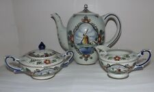 Dutch Polychrome Delft Large Coffeepot, Sugar & Creamer Set with Windmill Scenes