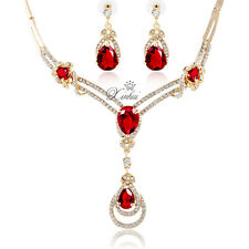 Fashion Zircon Gold Plated African Necklace Earrings Red Crystal Jewelry Sets