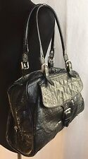 Designer NORDSTROM Black Leather Satchel Shoulder Bag Handbag Italy Croc Glossy