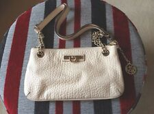 DKNY Clutch Bag Cream Embossed 100% Leather With Strap Donna Karan  New York