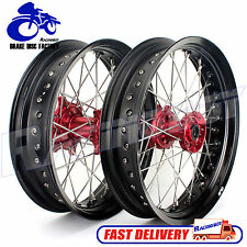 "SUPERMOTO COMPLETE 17"" WHEELS HONDA CR CRF 125 250 450 R/X RED HUBS BLACK RIMS"