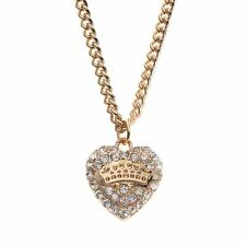 NEW Juicy Couture Gold-Tone Pave Heart Pendant Necklace