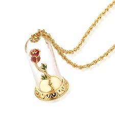 DISNEY Couture Beauty & la Bestia Gold-Plated incantato Rose Collana in vetro